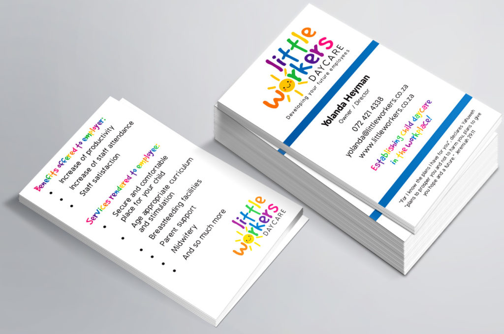 Little Workers Daycare business cards